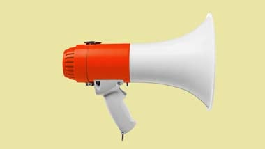 Orange and white megaphone